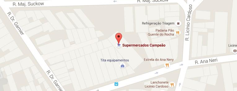 Selo local mapa loja Benfica Supermercados Campeão