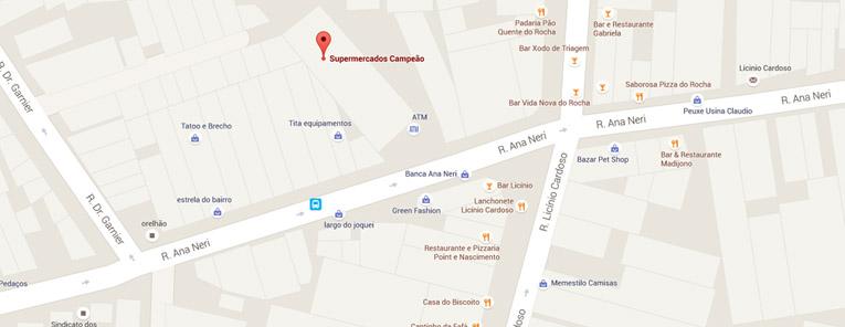 Selo local mapa loja Rocha Supermercados Campeão