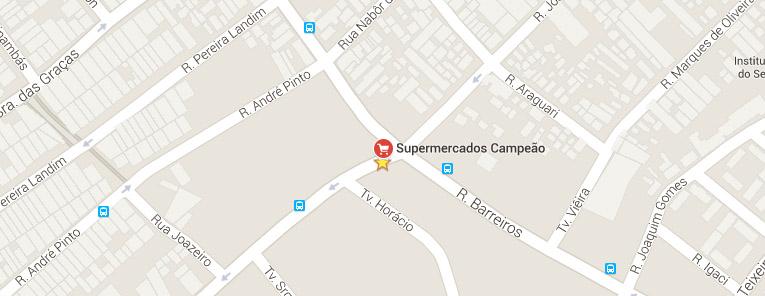 Selo local mapa loja Ramos Supermercados Campeão
