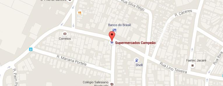 Selo local mapa loja Jacaré Supermercados Campeão