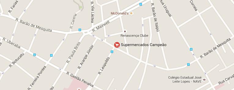 Selo local mapa loja Andarai Supermercados Campeão