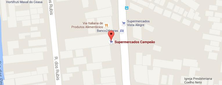 Selo local mapa loja Coelho Neto Supermercados Campeão