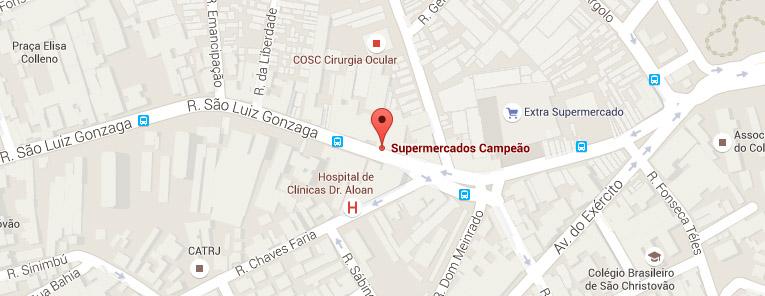 Selo local mapa loja São Cristóvão Supermercados Campeão