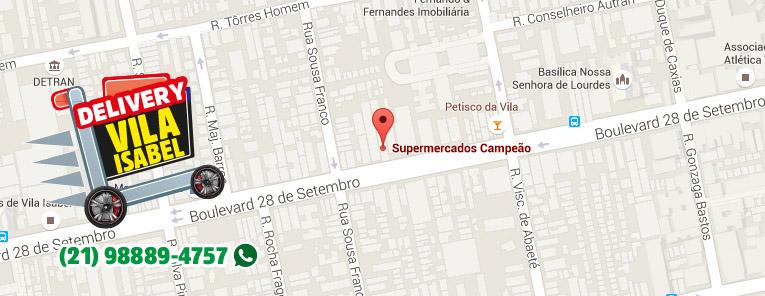 Selo local mapa loja Vila Isabel Supermercados Campeão