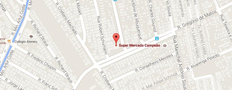 Selo local mapa loja Jardim América Supermercados Campeão