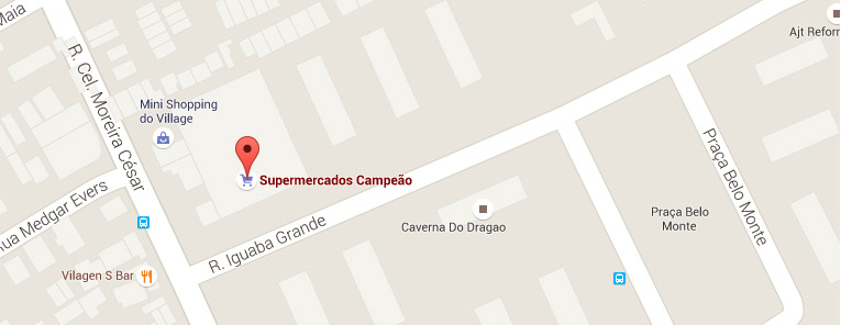 Selo local mapa loja Pavuna Supermercados Campeão