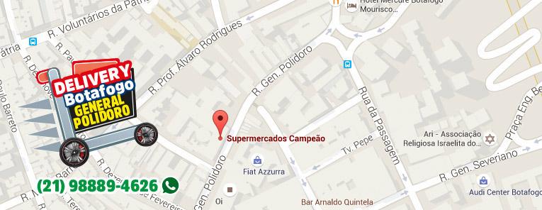 Selo local mapa loja Botafogo General Supermercados Campeão