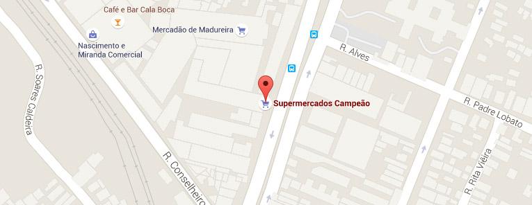 Selo local mapa loja Madureira Supermercados Campeão