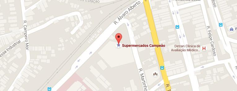 Selo local mapa loja Santa Cruz Supermercados Campeão