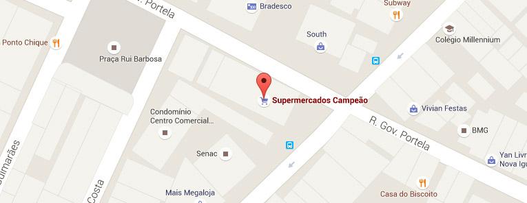 Selo local mapa loja Nova Iguaçu Supermercados Campeão