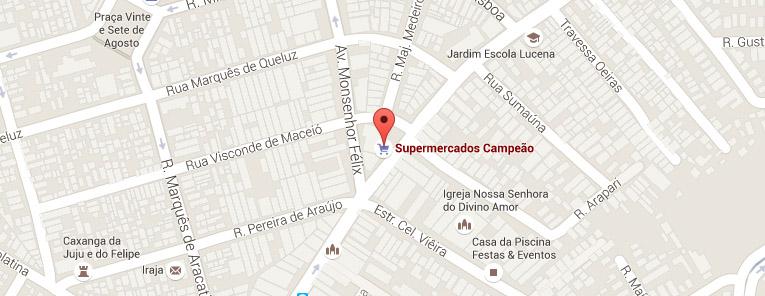Selo local mapa loja Irajá Supermercados Campeão