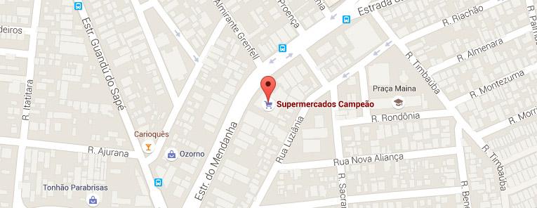 Selo local mapa loja Campo Grande Supermercados Campeão